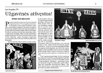 click/enlarge Draugas article on 2013 Blynu Balius LA Spindulys style